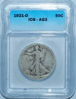 1921 D ICG AG3 Walking Liberty Half Dollar