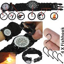 Outdoor Survival Watch Bracelet Paracord Compass Flint Fire Starter Whistle New