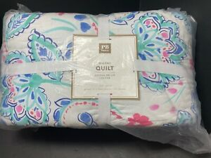 Pottery Barn Teen BLUE Flower MARNI Girls Full Queen Quilt Multi-Colors Kids NEW