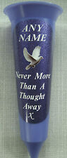 Memorial Flower Vase Lilac Purple ANY NAME Flower In Loving Memory Grave Spike