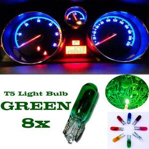 8x T5 286 12V 1.2W Car Interior Dashboard Instrument Light Bulb OEM Green Colour