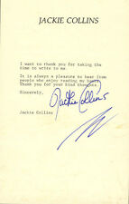 JACKIE COLLINS - TYPED NOTE SIGNED