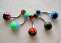 Flame Theme Navel Belly Ring 14g Red White & Black
