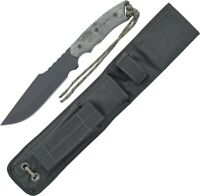 Tops AH906 Black Micarta Alaskan Harpoon Fixed Survival Knife + Nylon Sheath