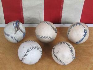 Vintage 1940s Bounder Ball Baseballs Group 5 Leather Blue Stitch Antique Display