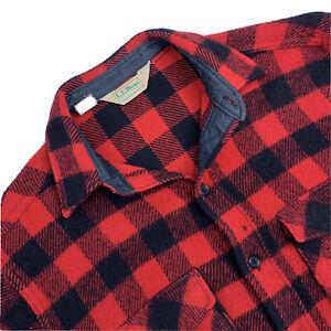 VTG Large  LL Bean Buffalo Plaid Heavy Wool Flannel Red Black Made USA