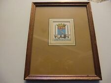 Vintage 17th Century Coat of Arms Louis 13th framed print W King Ambler