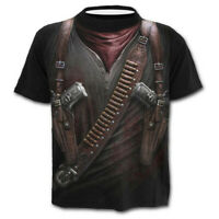 Mens Summer Western Cowboy Print O Neck Top Slim Sport Short Sleeve Shirt Blouse