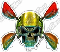 "Kayak Skull Kayaking Oars Sport Hobby Oar Car Bumper Vinyl Sticker Decal 5""X4"""
