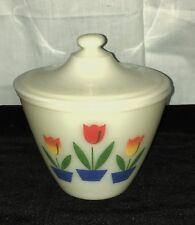 "Fire King IVORY w/ TULIPS *6"" GREASE JAR w/ LID* #1*"