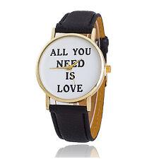 New Beatles Memorabilia All You Need is Love Quartz Watch Black Strap Quote Text