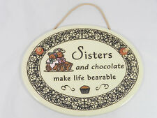 """Handcrafted Trinity Pottery USA """"Sisters & Chocolate"""" Bear Cupcake Wall Plaque"""