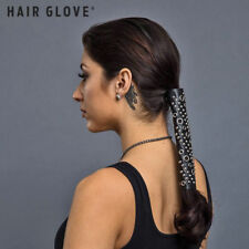 "Hair Glove® 4"" Black Lace Up w/Silver Eyelets & Rivets, 31437, Ponytail Holder"