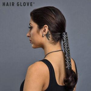 "Hair Glove® 4"" Black Lace Up w/Silver Eyelets & Rivets, 31437, Ponytail Holder"