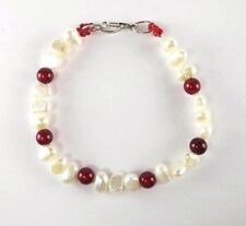 White Baroque Pearl and Red beads hand strung style ladies bracelet B*0965