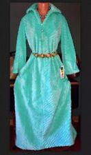 Funky Vintage 70's Aqua Faux Fur Long Dressing Coat Robe Pearl NOS Peignoir M L