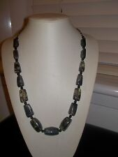 Long Length Adjustable Chunky Black Silver Bead Chain - New