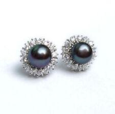 8-9mm Akoya Black Natural Pearl Earring AAA+