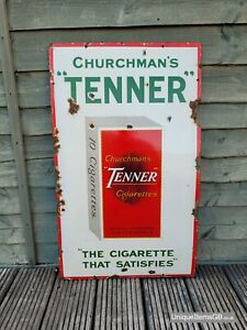 "Genuine Churchman's Tenner Cigarettes Enamel Sign Advertising Sign 30"" x 18"""