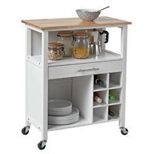 Argos Home Wooden Kitchen Trolley with Wine Rack - White