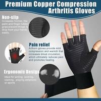 New 1 Pair Copper Compression Gloves Fingerless Arthritis Hand Relief Gloves