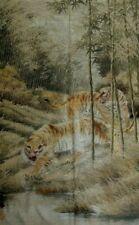 Grande broderie tigres Japon soie 145x90 Large embroidery silk tiger japan XIX