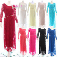 Lace Scoop Neck Long Sleeve Maxi Dresses for Women