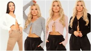 Womens Ladies Sexy Ribbed Knitted Tie Front Long Sleeve Crop Cardigan Jumper Top