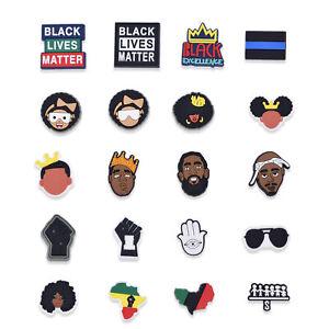 100pcs Black Lives Matter Shoe Charms I Can't Breath PVC Adapt BLM fit Bracelets