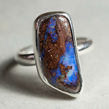 925 Boulder Opal Sterling Silver Ring Beautiful Blue Green Colour