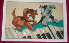 VTG 1950s 60s GRAVEL Plastic Pebble MOSAIC Mid Century WALL ART Playful Puppies