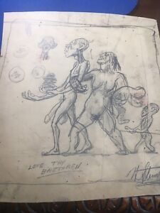 Signed Harry Sternberg American Art Pencil Sketch African American Family