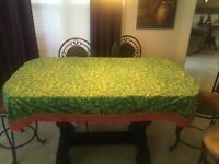 Beautiful Vintage Leacock Christmas Table Cloth 72 x 54 Holly & Ivy & Red Tassel