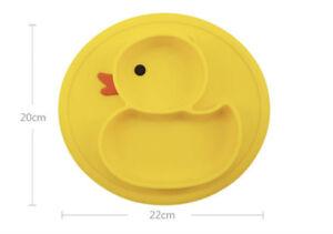Cartoon Duck Silicone Feeding Plate Tray Holder Baby Kids Toddler Children Bowl