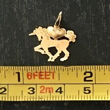 14k Yellow Gold Flat Unicorn Pendant Charm