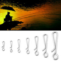 50Pcs Stainless Steel Hanging Snap Tackle Tools Connector Fishing Fishhooks New