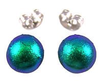 """Tiny DICHROIC GLASS Post EARRINGS 1/4"""" 7mm Metal Emerald Green Fused STUDS Dots"""