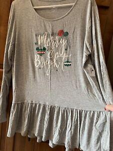 Disney Parks Womens XL Merry And Bright Top, Grey, Ruffled Bottom, NWT