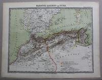 kolorierte Lithografie Karte von Nordafrika um 1860 Landkarte Marokkon sf