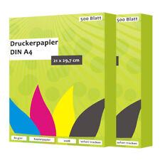 1000 Hoja Papel Copia Papel impresión DIN A4 80G/M ² blanco para tinta y láser