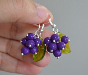 Handmade Purple grape Green leaf silver plated Cluster Earring