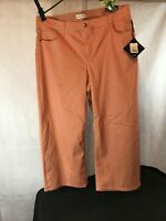 New: Plus Size High-Rise Wide Leg Ankle Length Chino Pants Ava & Viv Coral 22W