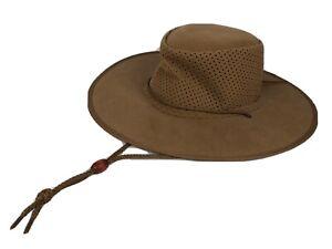 Kakadu Stroller Soaka Aussie Hat Brown Wide Brim Faux Suede Women's Medium