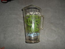 VINTAGE - GLASS PITCHER WITH GREEN TREES AND BLUE WATER