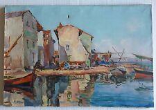 Tableau ancien huile sur toile marine port de pêche D. JAK