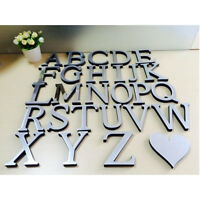 A-Z DIY Silver Mirror Removable Wall Stickers Home Room Acrylic Decals Art Decor