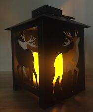 Rustic Metal Deer Elk Flickering Light-up 7.5 inch Metal Table Top Lantern Lodge