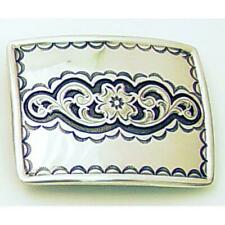 Belt Buckle Rectangular Floral Trophy