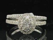 14K White Gold Over Signity Diamond Engagement Bridal Ring Wedding Band Set