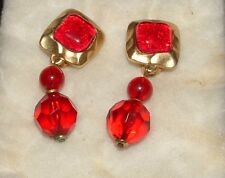 XEJA BEAUTIFUL CLIP-ON EARRINGS - RED ON GOLDTONE - PRICE REDUCED!